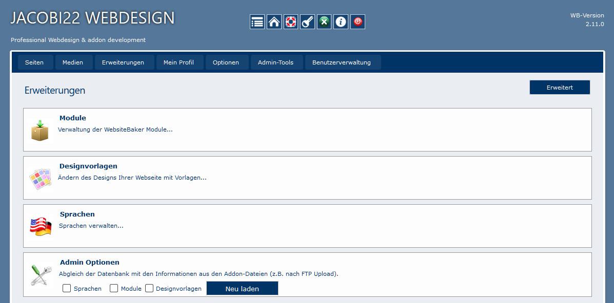 WebsiteBaker Erweiterungen