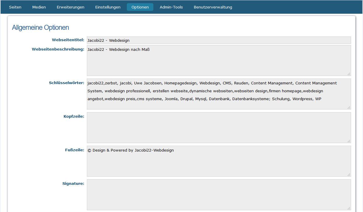 WebsiteBaker-Optionen - Seiteneinstellungen