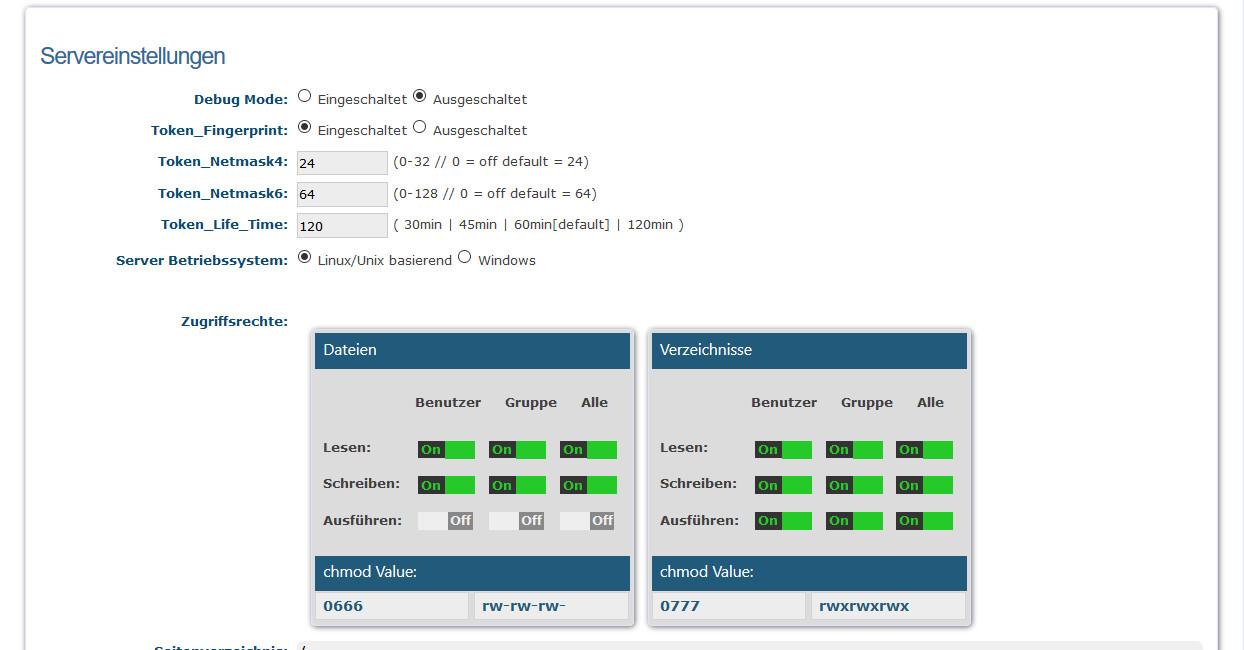 websiteBaker-Optionen - Servereinstellungen